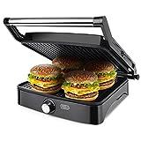 Aigostar Calore 30HHK - Grill, parrilla, sandwichera y máquina de panini, 1800 W de potencia, 2 placas de cocinado...