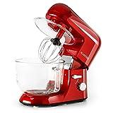 Klarstein - Bella Rossa 2G, Robot de Cocina, Mezcla, Amasadora, Batidora, 1200W, 2,5 a 5,2 L, Bol Cristal, 6 velocidades,...