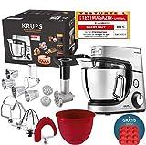 Robot de cocina Krups Premium 17 pzs., bol acero inox. 4,6 l, bol silicona, 4 agitadores acero inox., apto para lavavajillas,...