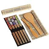 Juego de 9 piezas para hacer sushi, kit de sushi de bambú, incluye 2 alfombrillas para sushi, 5 pares de palillos, 1 paleta...