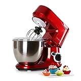 Klarstein Carina Rossa - Robot de cocina multifunción, Batidora, Amasadora, 800 W, 4 L, Batido planetario, 6 niveles de...